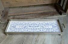 altes Art Deco Servier-Tablett / Chromfassung mit Keramikplatte - Strohblume