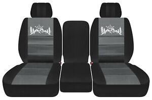 front truck seat covers blk-charcoal w/mountain  fits Dodge Ram11-2018 1500/2500