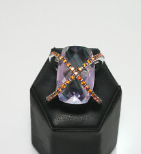RING URSO LUXURY IN WHITE SOLID GOLD 18KT WITH AMETHYST AND ORANGE SAPHIRES