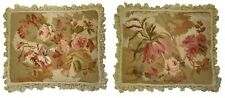 "Pair of 18""x22"" Handmade Wool Needlepoint Roses and Orchids Pillow with Tassels"