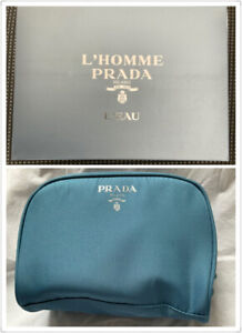NIB PRADA Blue Perfum Vip Gift Makeup Bag Case Toiletry Pouch Cosmetic Bag