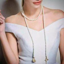 Collier Long Echarpe Doré Etoile Lune Perle Blanc  Fashion Original MYL 1
