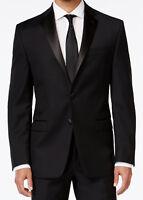 Men's Black Calvin Klein Tuxedo with Flat Front Pants Formal Wedding Mason Prom