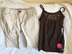 Justice 12 Slim Tan Shorts. / Brown Sparkle Cami Outfir