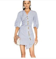 Tibi Blue Asymmetrical Striped Mini Dress Size 2