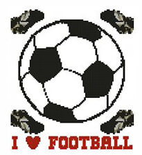 "I Love CALCIO COMPLETO contato CROSS STITCH KIT 8 ""x7"""