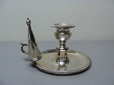 19th C. English Old Sheffield Plate (OSP) Silver Chamber Stick & Snuffer