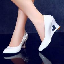 Women's Wedge Heel Wedding Shallow OL Bowknot Sweet Slip On Shoes Pumps Plus Sz