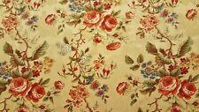 Discount Fabric Drapery Burgundy, Sage & Cream Rose Floral Fabric