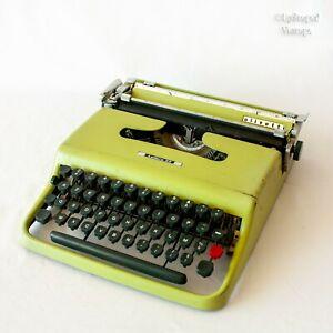 Vintage 1960s OLIVETTI Lettera 22 Pistachio Green Portable Typewriter in Case