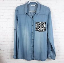 Celebrity Pink Size L Chambray Button Down Shirt Blouse Ikat Front Pocket