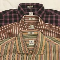 Peter Millar Lot of 3 Men's Large Plaid & Striped Button Down Shirts Long Sleeve