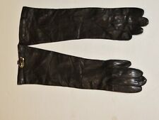 Perrella Black Leather / Silk Lined Long Gloves. New - Italy