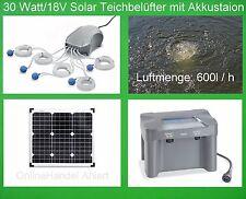 30W Solar Teichbelüfter Akku Teichbelüftung Sauerstoff Pumpe Gartenteich Teich *