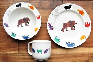 ERIC CARLE BROWN BEAR Animals Baby Toddler Plate,Cup & Bowl LUNT