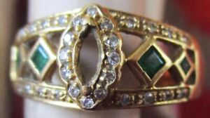 VINTAGE 18K MEN'S RING 10.5 SIZE CHIPS WITH SAPPHIRES THAILAND 5.8 GRAMS