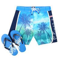 Smith & Jones Summer Beach Surf Swim Board Shorts & Flip Flop Palm Tree Blue