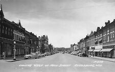 1958 REAL PHOTO Looking West on Main Street Reedsburg, Wisconsin - Sauk County