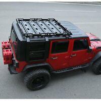 For 18-21 Jeep Wrangler JL 4 Doors Roof Rack +2 Side Ladders Carbon Steel Black