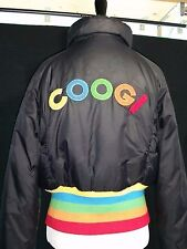 Womens Vintage Coogi Black Nylon Puffer Jacket Large LG Rainbow Ski Winter Zip