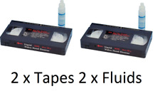 2 x Pack of VHS VCR Head Cleaner Kit for Video Tape Cassette 2 x Cleaning Fluid