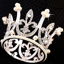 4cm High Mini Circle Pearl Crystal Rhinestone Princess Bridal Girl Tiara Crown