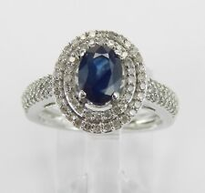White Gold Diamond and Sapphire Double Halo Engagement Promise Ring Size 6