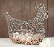 FARMHOUSE DECOR Chicken Statue Egg Basket Chicken Wire Steel Barn Roof Chickens