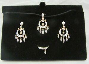 Sterling Ross Simons Set Necklace Earrings & Ring Diamond Chip Rose Gold Over