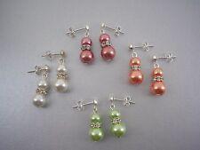 Coloured Pearl & Diamante Drop Dangle Stud Earrings Butterfly Scroll backs 57W