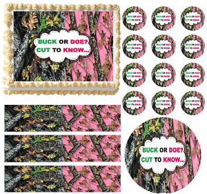 Mossy Pink Mossy GENDER REVEAL BUCK DOE Edible Cake Topper Image - All Sizes!