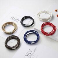 Hot Unisex Women Men Handmade Braided Leather Cuff Bracelet Wristband Wrap Gift
