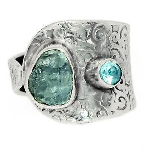 Aquamarine Rough & Blue Topaz 925 Silver Ring Jewelry s.7.5 BR76002 250H