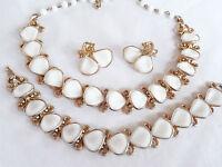 Vintage 1940s TRIFARI White Molded Glass Necklace Bracelet Earrings Set