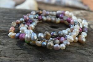 Pearl Bracelet Multicoloured Cultured Freshwater Pearls - Gift Box