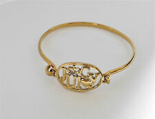 100% Authentic JUICY COUTURE Gold Tone Logo Bangle Bracelet with Crystal Accents