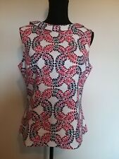 Ladies Size 14 Boden Pink Mix Floral Sleeveless Lined 50's Style Top <LR988