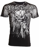 Xtreme Couture AFFLICTION Men T-Shirt JUSTICE Skull Tattoo Biker Gym $40