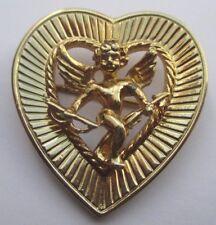 broche bijou vintage coeur angelot couleur or signé MONET gravé relief 1990