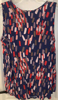Boden Women's Small Sz 4 Blue Blouse Multicolor Geometric Sleeveless
