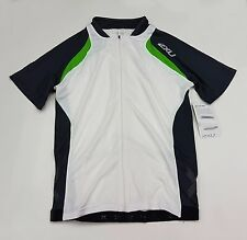 2XU Elite Cycle Men's Cycling Jersey MC2012a White Green Small