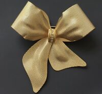 Vintage Large Bow  Christmas Brooch gold  Tone Metal