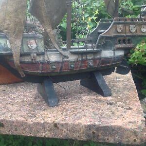 Antique Vintage, Model  Wooden Ship GALLEON, Pirate Ship, Nautical, Marine.