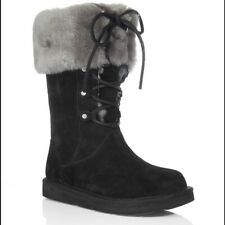 UGG Montclair Cuffed Shearling Boots Lace Up 6 women New