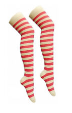 New Ladies Over The Knee Pink And White Stripy Stripey Striped Socks Sox Thigh