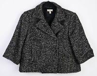 Gant Women Jacket Double Breasted Coat Blazer 3/4 Sleeves Pea Tweed RA33h