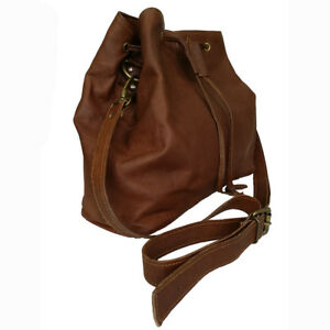 Women's Hobo Bag Vintage Genuine Leather Drawstring Ladies Shoulder Bucket Purse