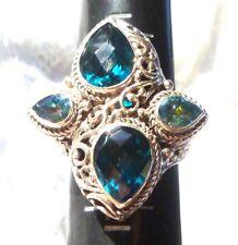 Londres Azul Cuarzo Diseñador Plata de Ley 925 Anillo con Piedra Preciosa Talla