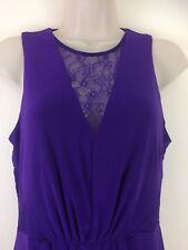 Coast Purple Evening Dress UK 12 Long Maxi Stretchy Front Split Lace Cruise Prom