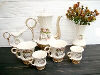 Vintage ceramic teapot, 2 cups for tea, 2 cup for coffee, sauser and vase